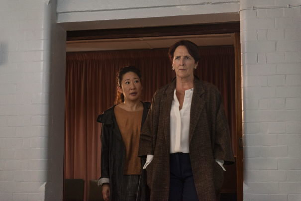 Sandra Oh as Eve Polastri, Fiona Shaw as Carolyn Martens - Killing Eve _ Season 2, Episode 1 - Photo Credit: Parisa Taghizadeh/BBCAmerica