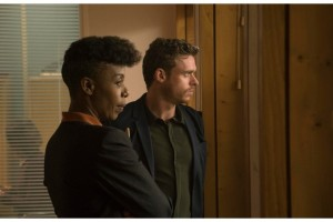 "Senior Agent Okhile and Agent Ross (Richard Madden) Philip K. Dick's Electric Dreams Episode 106 ""The Hoodmaker"""