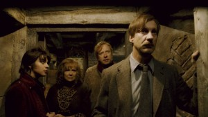 HP6-FP-00102 (L-r) NATALIA TENA as Nymphadora Tonks, JULIE WALTERS as Molly Weasley, MARK WILLIAMS as Arthur Weasley and DAVID THEWLIS as Remus Lupin in Warner Bros. PicturesÕ fantasy adventure ÒHarry Potter and the Half-Blood Prince.Ó