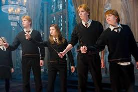 Ginny and her brothers. Twins Fred and George, and Ron. Harry Potter and the Order of the Phoenix.