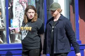 Rupert Grint, pictured with girlfriend Georgia Groome in April 2020.