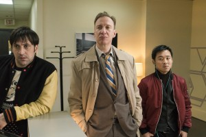 FARGO -- Year 3 -- Pictured (l-r): Goran Bogdan as Yuri Gurka, David Thewlis as V.M. Vargas, Andy Yu as Meemo. CR: Chris Large/FX
