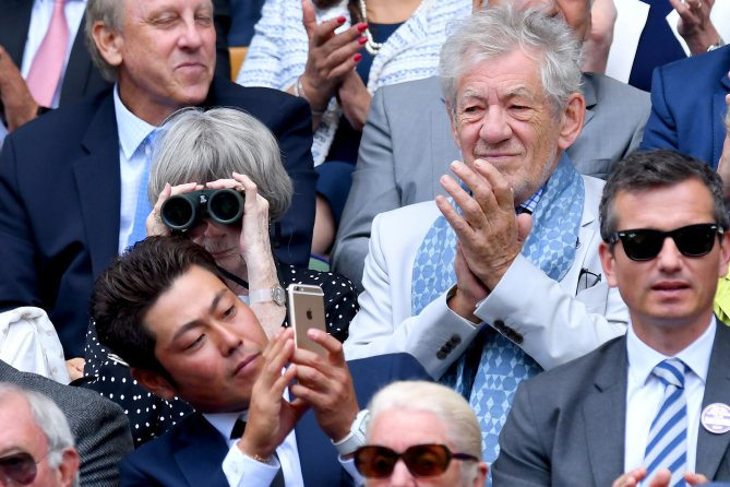 LONDON, ENGLAND - JULY 12:  Actors Maggie Smith and Sir Ian McKellen attend day nine of the Wimbledon Tennis Championships at the All England Lawn Tennis and Croquet Club on July 12, 2017 in London, United Kingdom.  (Photo by Karwai Tang/WireImage)
