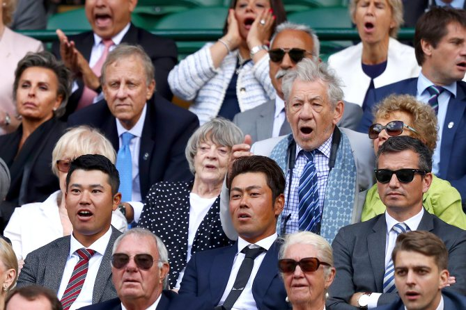 LONDON, ENGLAND - JULY 12:  Sir Ian McKellen, Dame Maggie Smith, Sir Chris Hoy, Hideki Matsuyama and the Duke of Kent react in the centre court royal box during the Gentlemen's Singles quarter final match between Andy Murray of Great Britain and Sam Querrey of The United States on day nine of the Wimbledon Lawn Tennis Championships at the All England Lawn Tennis and Croquet Club on July 12, 2017 in London, England.  (Photo by Michael Steele/Getty Images)