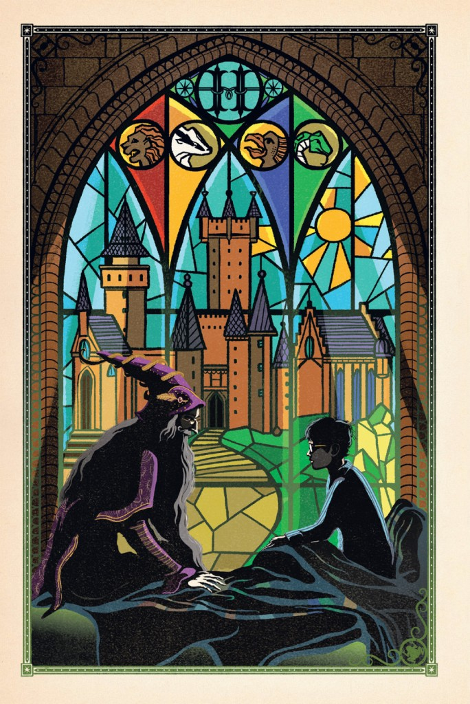 """harry-dumbledore-hospital-wing """"width ="""" 684 """"height ="""" 1024 """"/> </a> <br /> L'équipe Wizarding World a également révélé une double diffusion avec le Poudlard Express et la plateforme 9 3 / 4, et MinaLima a mentionné qu'il y avait un œuf de Pâques dans cette illustration colorée. Nous voyons l'Ancien Baguette, Trevor le crapaud, un """"P"""" pour Peverell, Croûtard le rat, un chaudron, des lunettes de Harry et plus encore. Quels plaisirs espionnez-vous dans la propagation? <br /> <a href="""