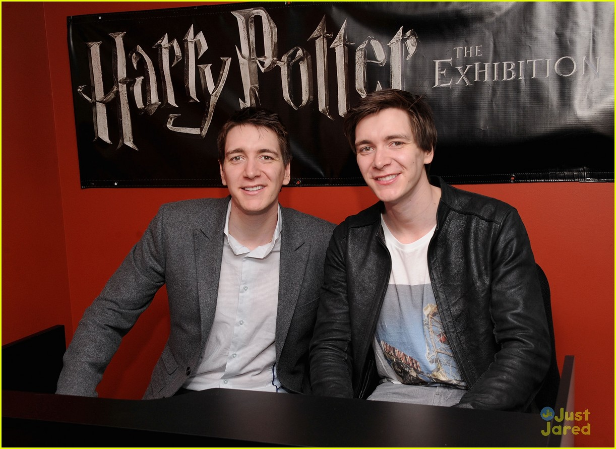 NEW YORK, NY - FEBRUARY 19:  Actors Oliver Phelps and James Phelps visit The Harry Potter Exhibit at Discovery Times Square on February 19, 2013 in New York City.  (Photo by Jamie McCarthy/Getty Images)
