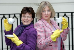 Victoria Wood (left) and Julie Walters pose for photographers during a photocall outside the Theatre Royal, Haymarket in London. The pair are discussing plans for their forthcoming musical based on Victoria's award-winning BBC sitcom 'Acorn Antiques'. Production is expected to enter the West End next year.