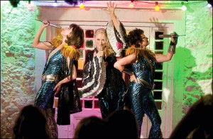 Donna and The Dynamos--(L to R) Tanya Chesham-Leigh (CHRISTINE BARANSKI), Donna Sheridan (MERYL STREEP) and Rosie Rice (JULIE WALTERS)--perform in the musical romantic comedy ?Mamma Mia!?