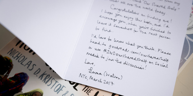 A note from Emma in one of the books dropped by Jade-Ceres Munoz. (Picture by Dean Purcell)