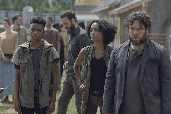 Ross Marquand as Aaron, Angel Theory as Kelly, Lauren Ridloff as Connie, Dan Folger as Luke- The Walking Dead _ Season 9, Episode 6 - Photo Credit: Gene Page/AMC